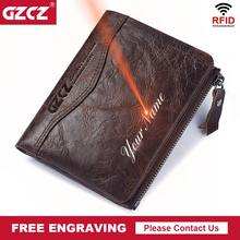GZCZ Free Engraving Name High Quality 100% Genuine Leather Wallet Men PORTFOLIO Gift Male Coin Purse Pocket Money Bag Rfid Walet(China)
