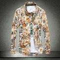Alta Calidad 2016 de La Moda de Primavera Marca Hombres Ropa Slim Fit los hombres de Manga Larga Camisa de Estampado de flores de Algodón Casual Camisa de Los Hombres #01