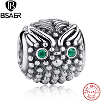 925 Sterling Silver Wise Owl Dark Green Eye Charm Fit Pandora Bracelet Bangle Jewelry Making PAS029