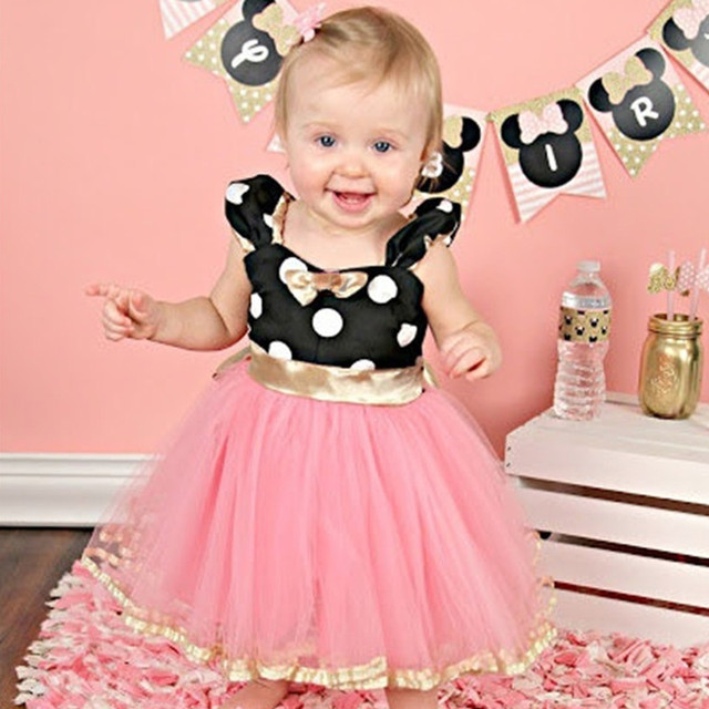 ab1d1ce76cc1 Baby Girl Kids Pink Dot Christmas Party Tulle Tutu Mouse Dress Up Costume  1st 2nd Birthday