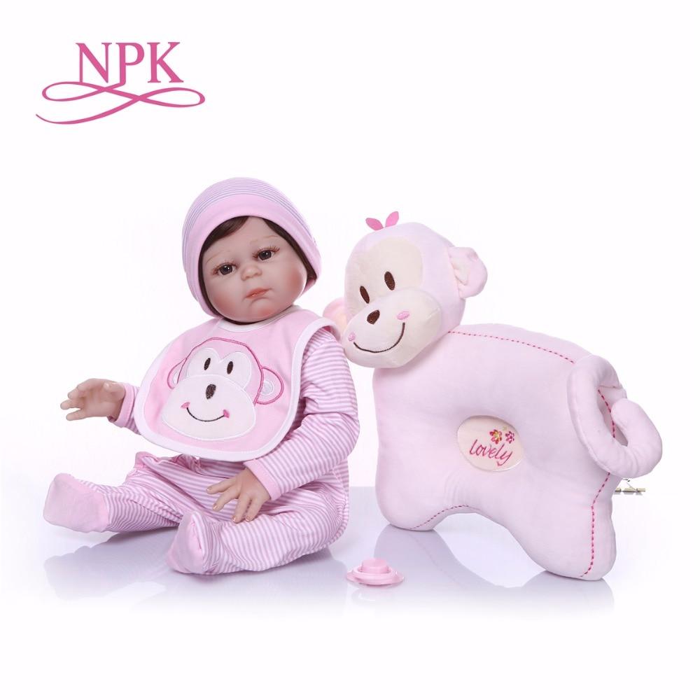 Npk boneca reborn 작은 핑크 개 실리콘 비닐 reborn 아기 인형 장난감 lifelike child birthday 크리스마스 선물 소녀를위한 뜨거운 장난감-에서인형부터 완구 & 취미 의  그룹 1