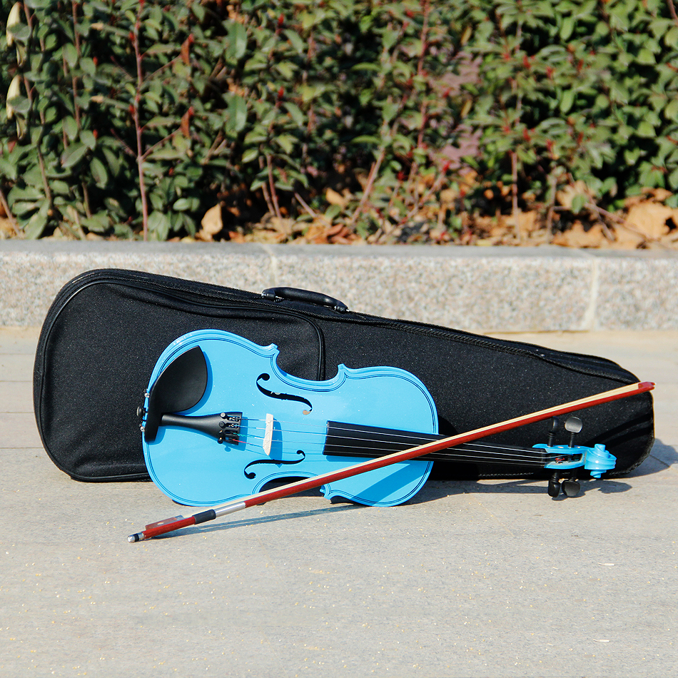 Sky Blue 4/4 Violin (1/4 & 3/4 & 1/2 & 1/8) Acoustic Violin with Violin Case / Free Shipping beautiful sky blue violin high quality china acoustic violin 1 4 3 4 4 4 1 2 1 8 size send with bag