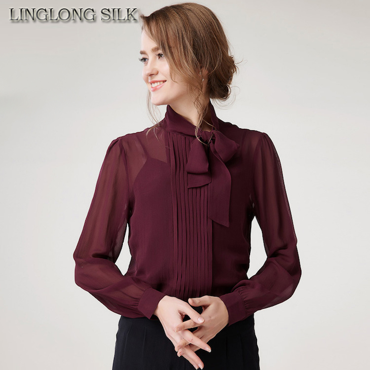 5194b1b4d255a Silk Chiffon Shirt 3640A 100%Pure Silk Blouses Women Shirts Office Lady  Shirts 2016 New