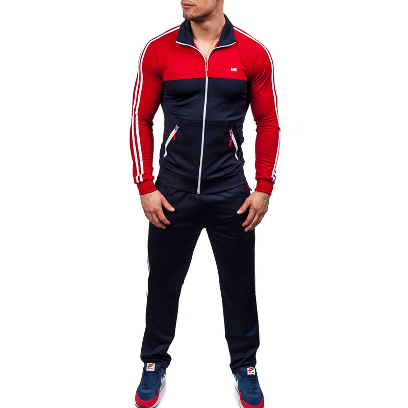 ZOGAA 2018 New Track Suit Men's Fashion Red Tracksuit Sports Jacket And Sweatpants Suit Size XS-4XL