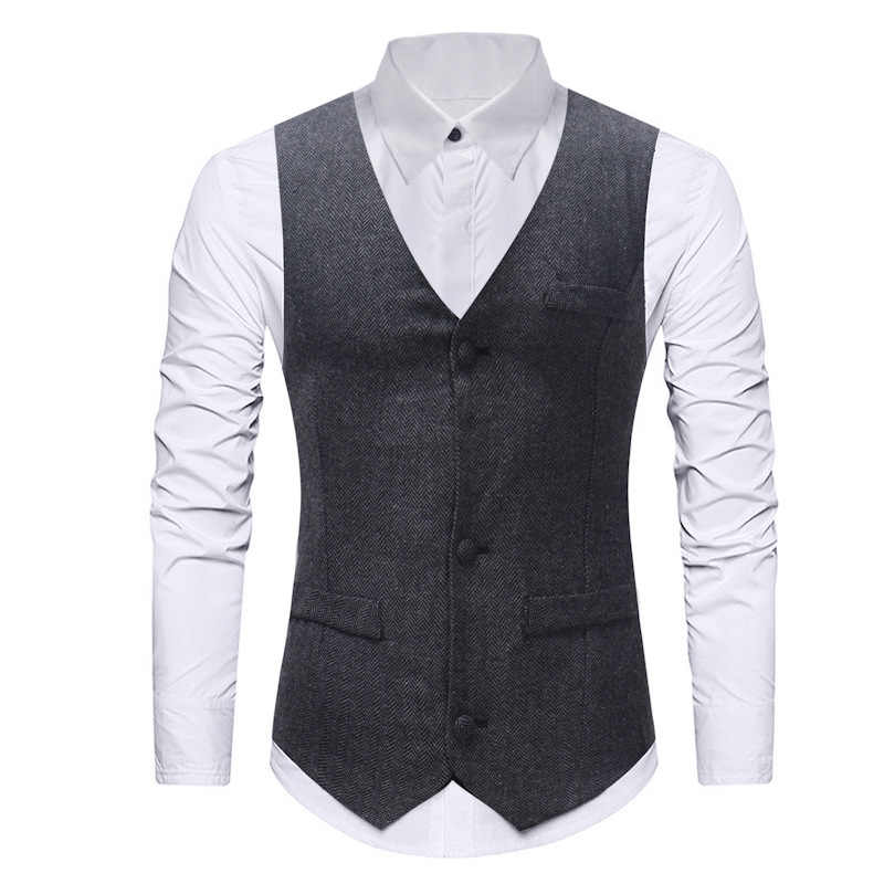... Mens Formal Single Breasted Vests Classic Herringbone Suit Gilet Homme Slim  Fit Grey Waistcoat Men Marriage ... 139018d55600