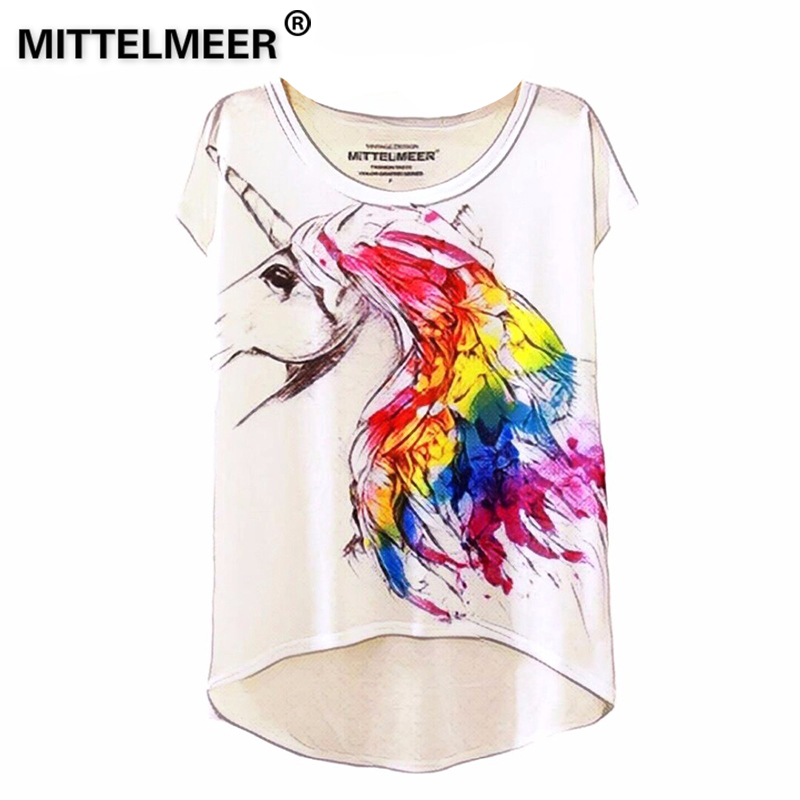 2016 Brand New Cotton cropped t Shirt Women Short Sleeve t-shirts o-neck Causal loose Magic Unicorn T Shirt Summer top for women