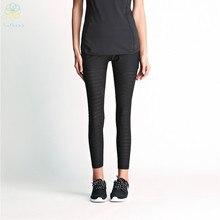 2016 Ladies Jacquard Weave Elastic Ventilate Cloth Sports activities Pants Capri Operating Health Yoga Fitness center Black Leggings Exercise Tights