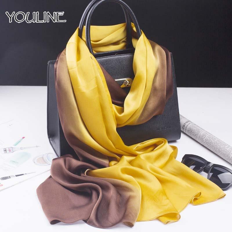 YOULINE Women Silk Satin   Scarf   Luxury Brand Gradient Color Large Bandana Long Shawl Soft Ladies   Scarves     Wraps   Echarpe Pashmina