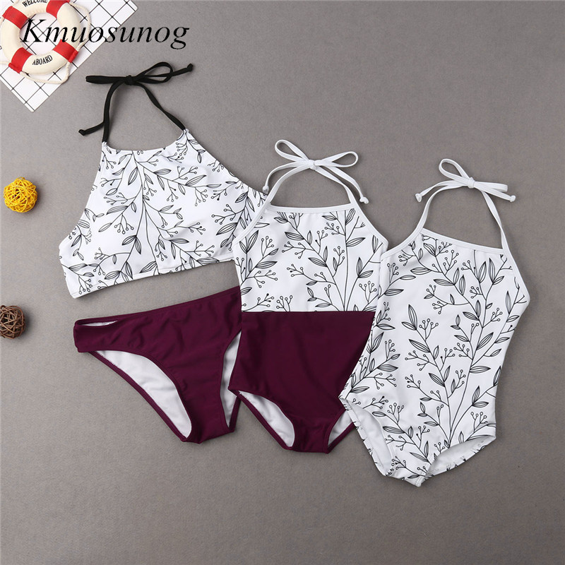 Mom And Daughter Swimsuit 2019 Garments Mommy & Child Lady Leaves Printed Bikini Set Household Matching Outfits C0304 Matching Household Outfits, Low-cost Matching Household Outfits, Mom And Daughter Swimsuit...