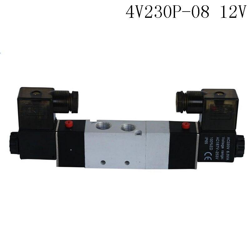 1Pcs 4V230P-08 DC12V 5Way 3Position Dual Solenoid Pneumatic Air Valve 1/4 BSPT airtac solenoid valve 3v220 08 3v200 series 3 2 way 1 4 bspt pneumatic air control valve