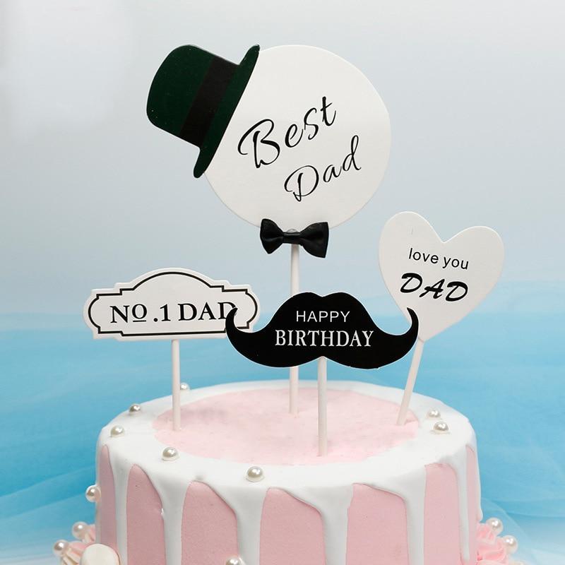 Brilliant 4Pcs Bag Happy Birthday Best Dad Cake Topper Fathers Day Cake Personalised Birthday Cards Veneteletsinfo
