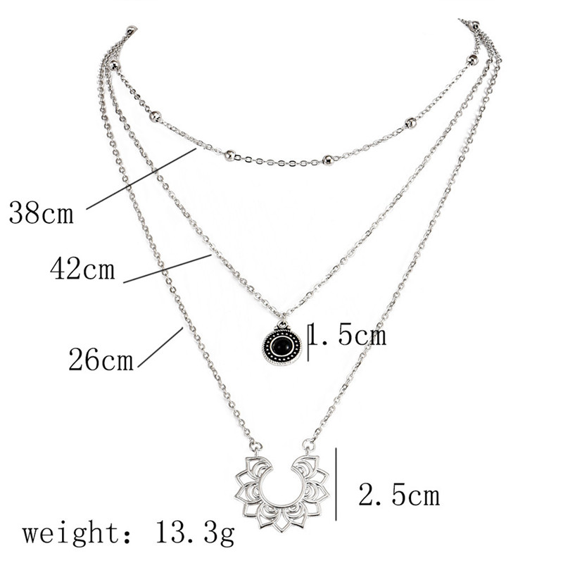 New hot fashion necklace multi layer with semi circular pattern pendant round retro female models charming necklace jewelry 2019 in Chain Necklaces from Jewelry Accessories