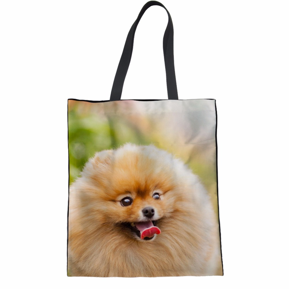 Coloranimal 2018 New Arrival Pomeranian Animal Printed Women Canvas Shopping Bags Fashion Hand School Bags for Teenager Girl