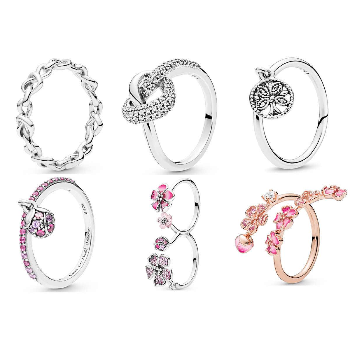 100% 925 Sterling Silver Cincin Ungu Kristal Bunga Jantung Bentuk Pohon Cincin untuk Wanita Perhiasan Cantik