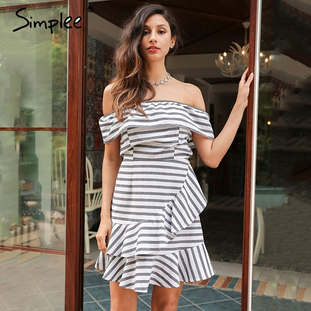 Simplee Sexy ruffle stripe summer dress Off shoulder short sleeve plaid women dress casual party beach mini dress vestidos 2017