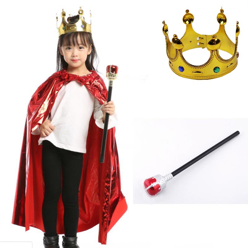 Girl Kids Cloak King Cape Queen Princess Role Play Props Cosplay Crown Sceptre Party Supplies Costume Set Halloween