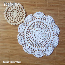 HOT handmade Lace cotton table place mat pot pad Cloth crochet dining placemat cup mug Round tea coaster wedding doily kitchen