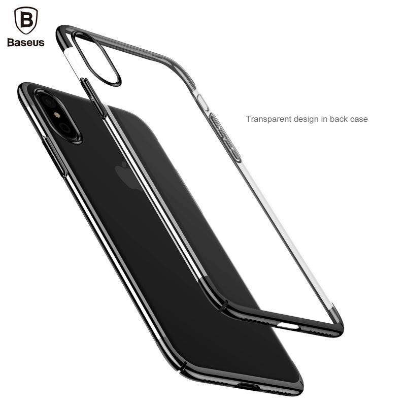 BASEUS for iPhone X Case for iPhoneX Phone Cover Crystal Hard Clear Funda Plating Plastic Transparent Phone Smartphone Protect