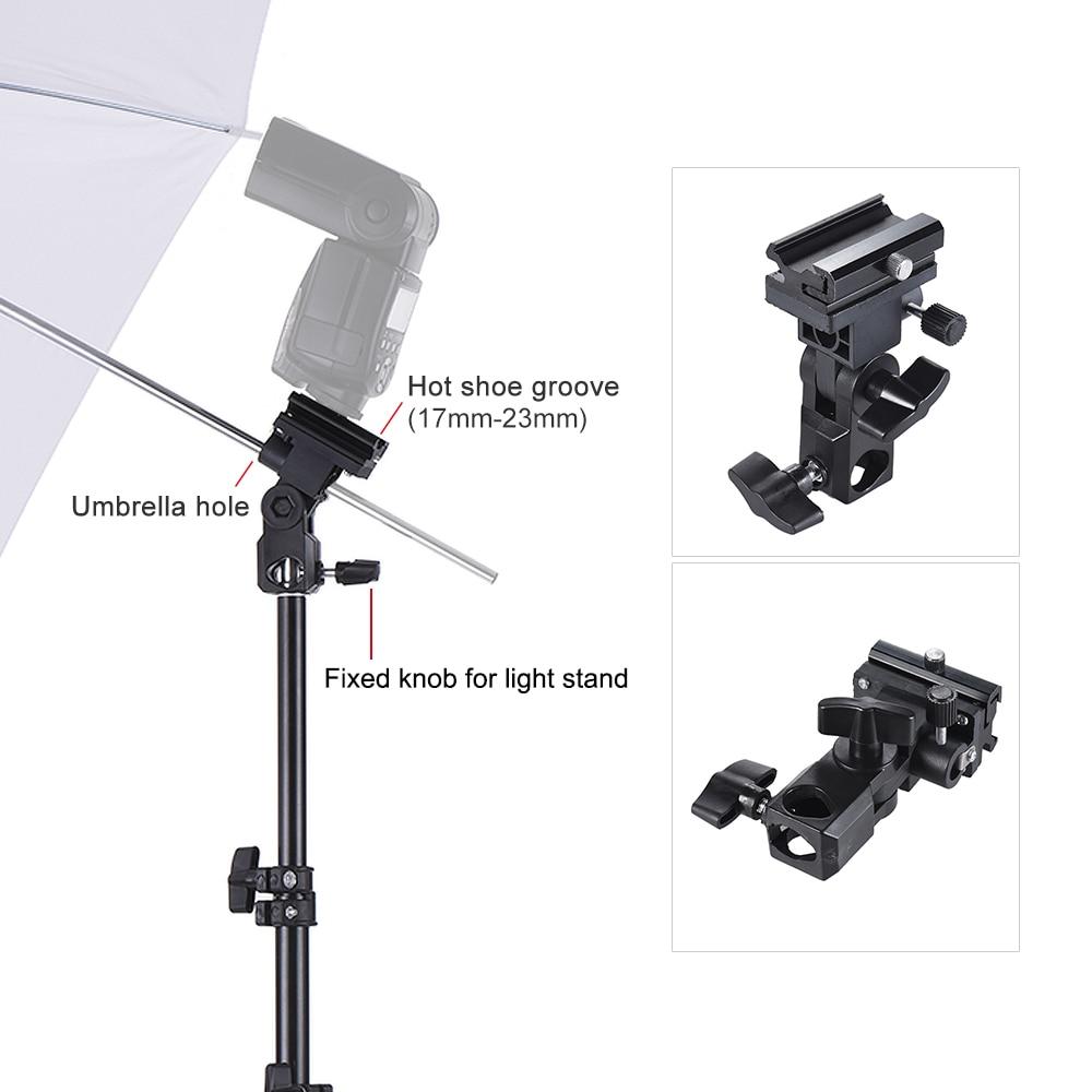 Andoer Speedlight Flash Shoe Mount Swivel Soft Umbrella Kit +Brackets+Light Stand +Soft Umbrella for Canon Nikon Hot Shoe Flash