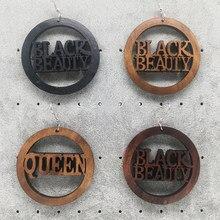 Frete grátis! preto beleza rainha brincos de madeira