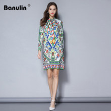 Banulin HIGH QUALITY Women Runway Dress Vintage Long Sleeve Colorful Floral Printed Bow Straight Dresses Vestidos Mujer 2018