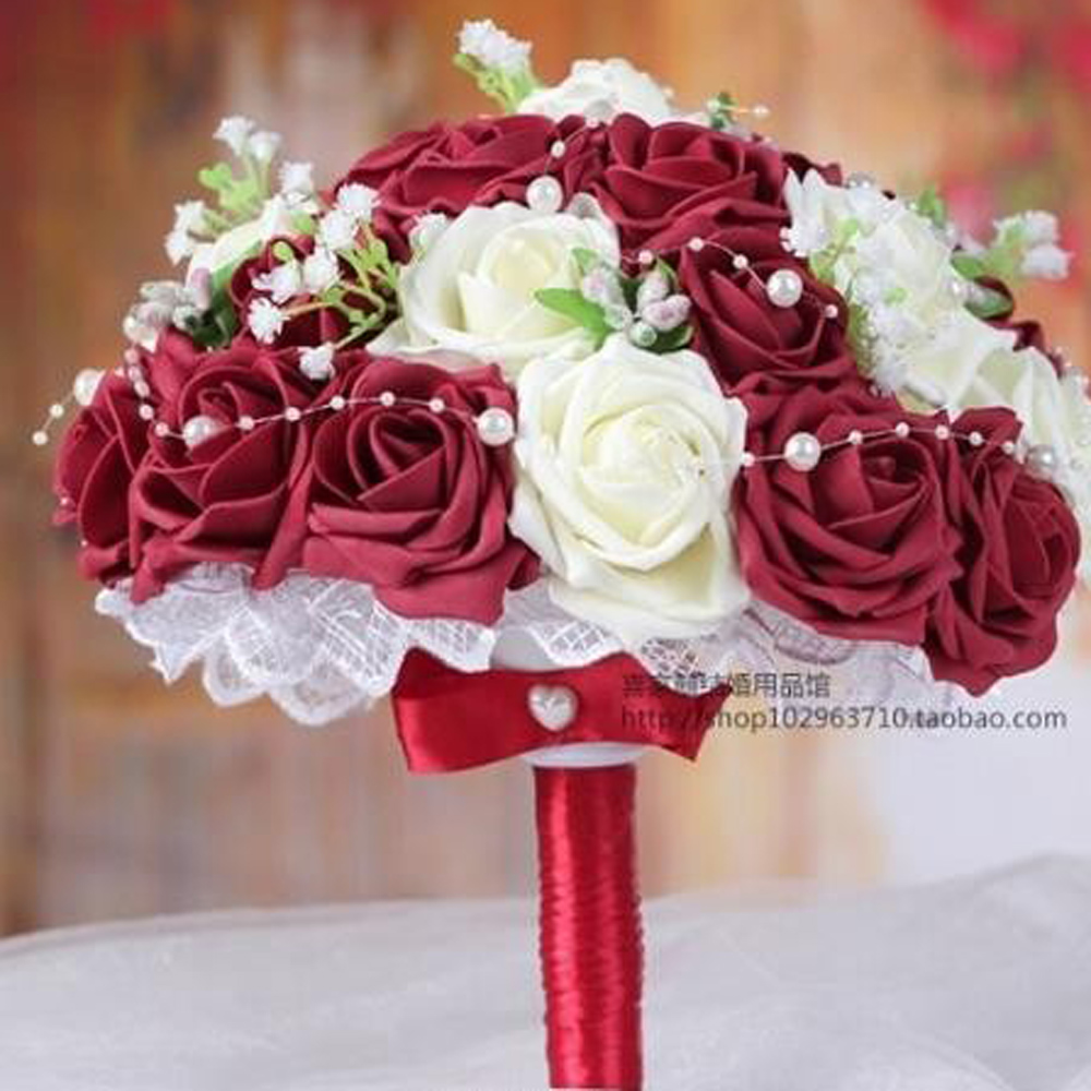 Aliexpress buy burgundywhite handmade flowers decorative aliexpress buy burgundywhite handmade flowers decorative artificial rose flowers pearls bride bridal lace accents wedding bouquets from reliable izmirmasajfo
