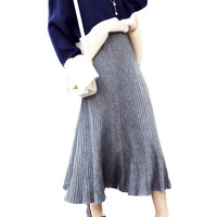 Women Knitting Warm Long Pleated Skirt Korean Fashion Elegant High Waist Slim A Line Casual Knitted