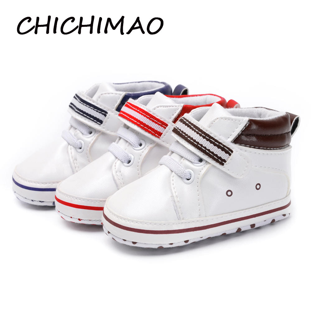 PU Leather Prewalker Infant Sweet Canvas Sneaker Anti-skid Hi-top Soft Baby Shoes Newborn Baby Boy First Walker 0-18 Months