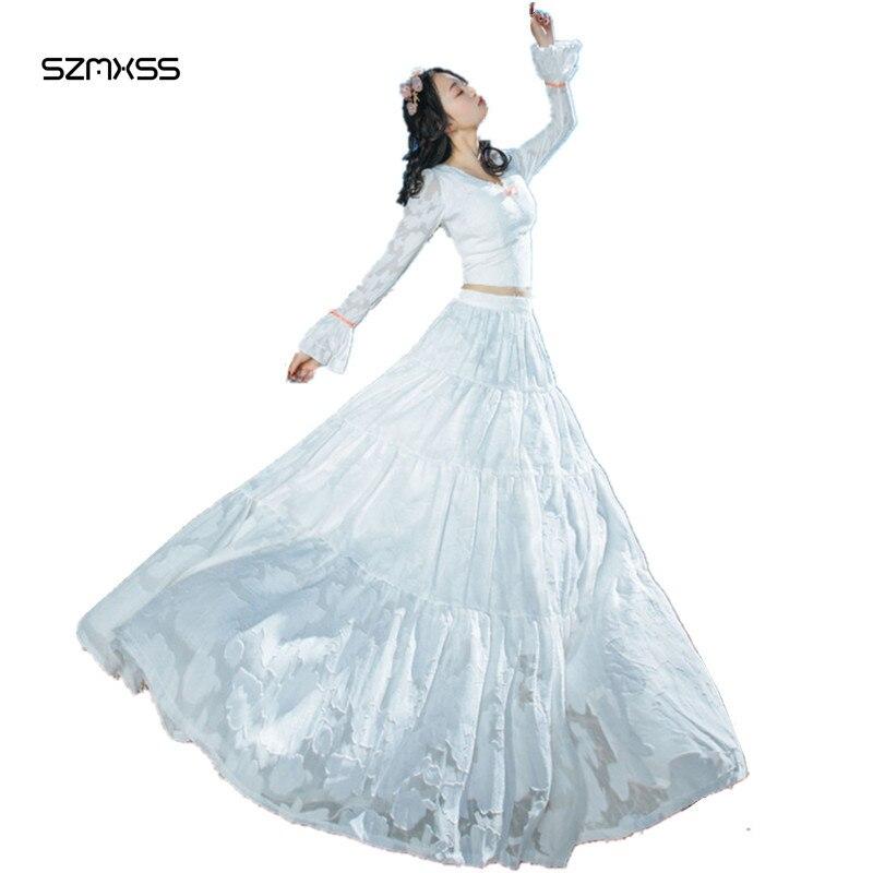 Пляжные наряды женщина Лето 2017 г. Элегантный двух частей кружевное платье макси белый Цвет Sexy v-образным вырезом с длинным рукавом Мода фея ...