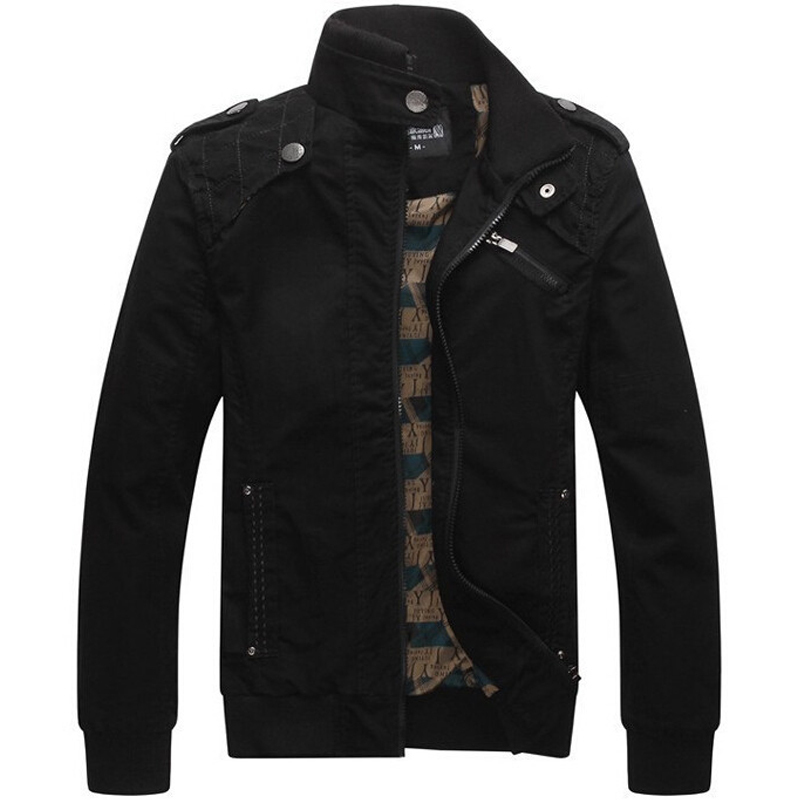 Jacket Men Casual Jackets Cotton Washed Coats Army Military Mens Stand Collar Outerwear Jaqueta ...
