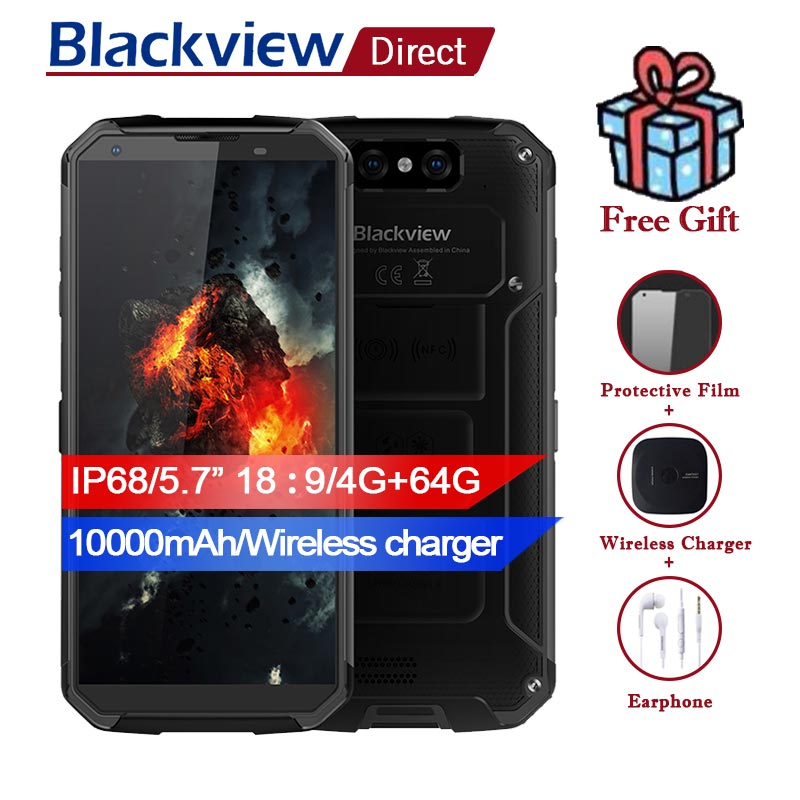"""BLACKVIEW BV9500 IP68 5.7"""" 18:9 waterproof Smartphone 10000mah Wireless charger 4G+64G MT6763T Android 8.1 Dual Rear Camera 16MP"""