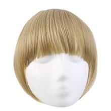 SARLA, заколка для наращивания челки, искусственные волосы, синтетические заколки на заколках, короткая челка с длинными бортами для женщин, натуральный, Flase, черный, B3
