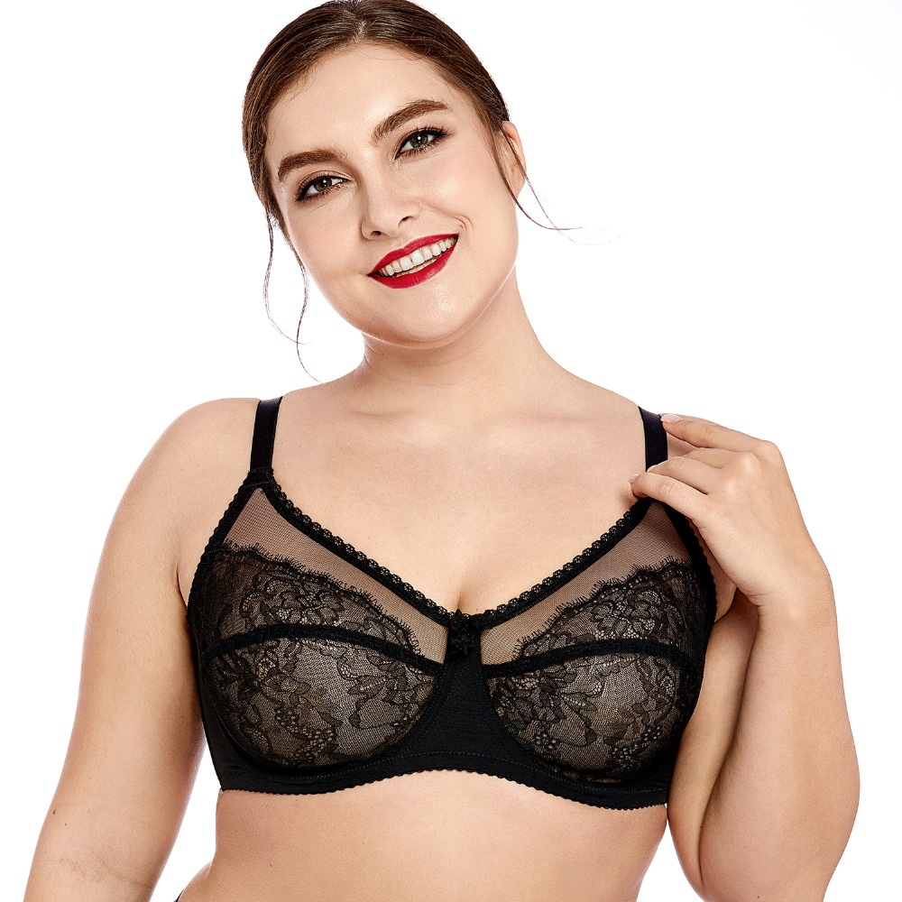 Women's  No Padding Sheer Lace Full Cup Plus Size Unlined Underwire Bra Breathable