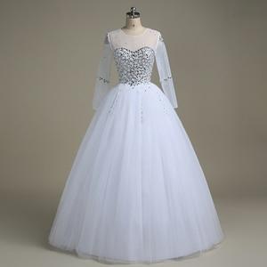 Image 2 - QQ Liebhaber Illusion Perlen Ballkleid Hochzeit Kleid 2020 Hochzeit Kleider