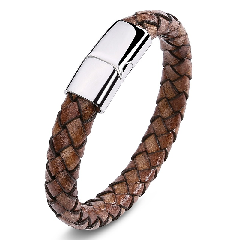 MOZO FASHION 2pcs Men Jewelry Vintage Bracelet Handmade Braided Leather Bracelet Stainless Steel Magnetic Clasps Bracelet SP3001