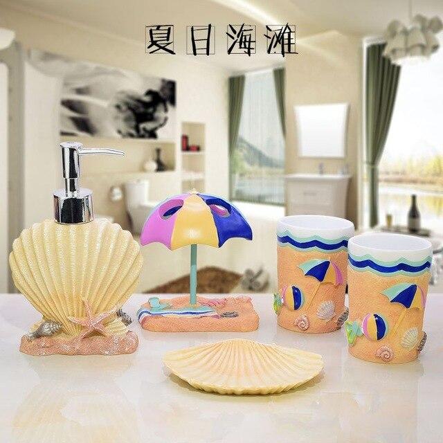 Éco naturels faits à la main shell de luxe cinq pcs/kit Savon Distributeur/Brosse À Dents Dentifrice Titulaire/salle de bain de résine ensemble