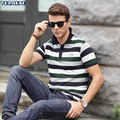 Mens Polo Shirts Striped Tops Short sleeve Slim Cotton Ribbed camisa Polos Turn Down collar Fit Homme clothes Croco Fashion
