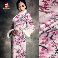 High Quality Pink Plum Flowers Prints 97 Mulberry Silk Fabric 3 Stretch Satin Fabric Summer Haute
