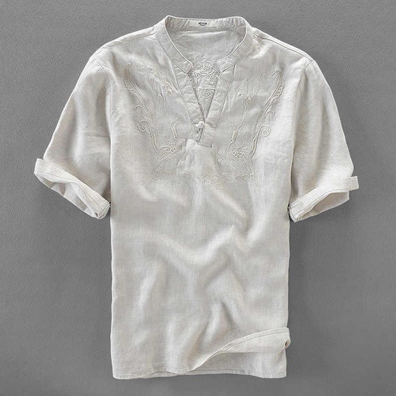 909df73fb72 Итальянские Брендовые мужские льняные рубашки летняя однотонная белая льняная  рубашка Мужская Вышивка Повседневная Мужская рубашка Блузы