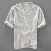 Italy Brand Linen Shirts Men Summer Solid White Flax Shirt Mens Embroidery Casual Men Shirt Large
