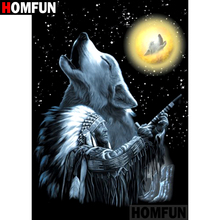 HOMFUN 5D DIY Diamond Painting Full Square/Round Drill Indian wolf Embroidery Cross Stitch gift Home Decor Gift A08497 homfun 5d diy diamond painting full square round drill indian wolf embroidery cross stitch gift home decor gift a09279