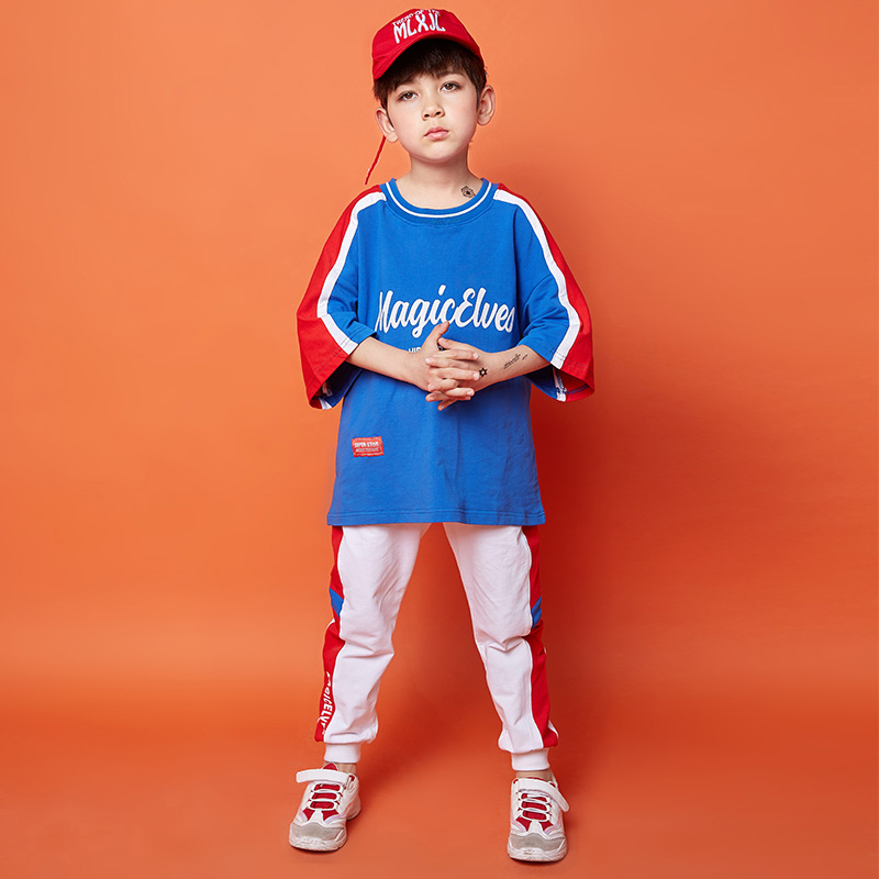 Kids Hip Hop Clothing Boys Summer Jazz Dance Costume Street Dance Outfit Stage Costume Show Dance Performance Clothes DQS2073