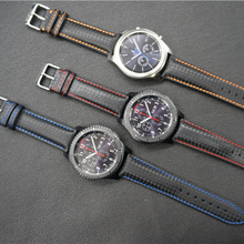 Newest 22mm Genuine Leather Carbon fiber watch band straps for Samsung Gear S3 Classic Frontier