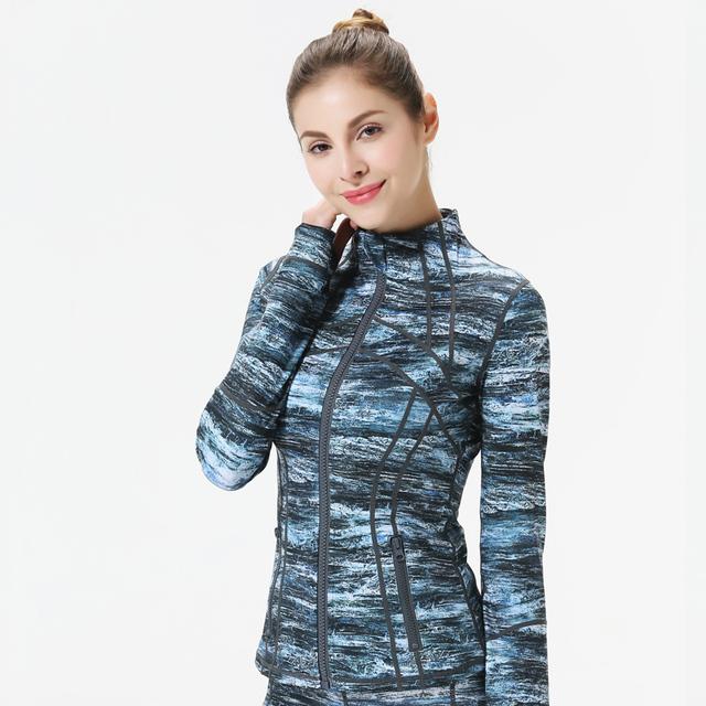 Women's Melange Color Zipper Yoga Jacket  S-XL