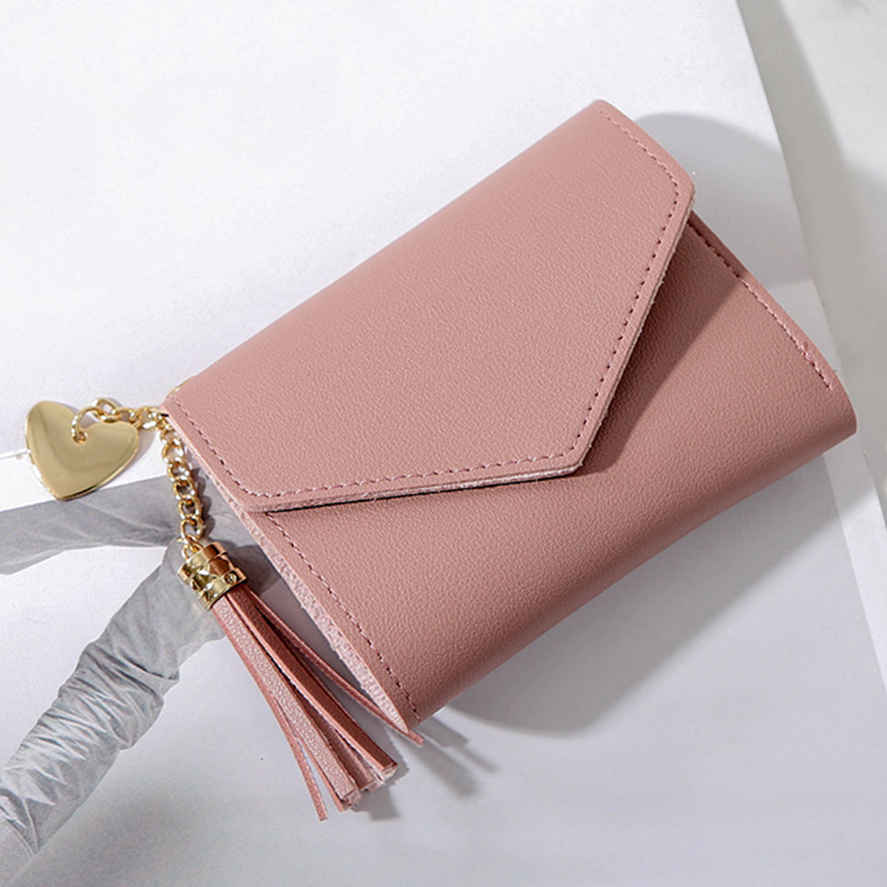 Women Short Fashion Purses Solid Zipper Pendent Tassel Wallet Credit Cards Hasp