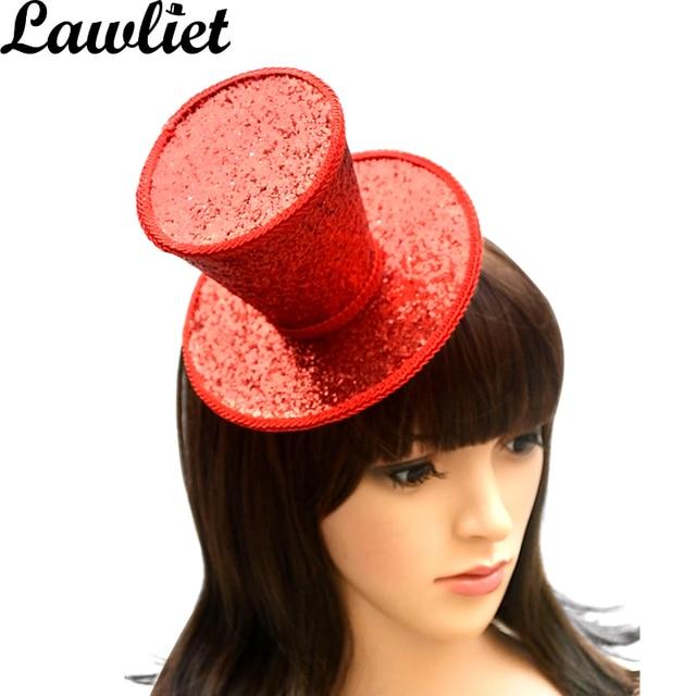 Burlesque Gothic Glitter Mini Top Hat Party Wedding Dance Fascinator Woman Hair Accessory Church