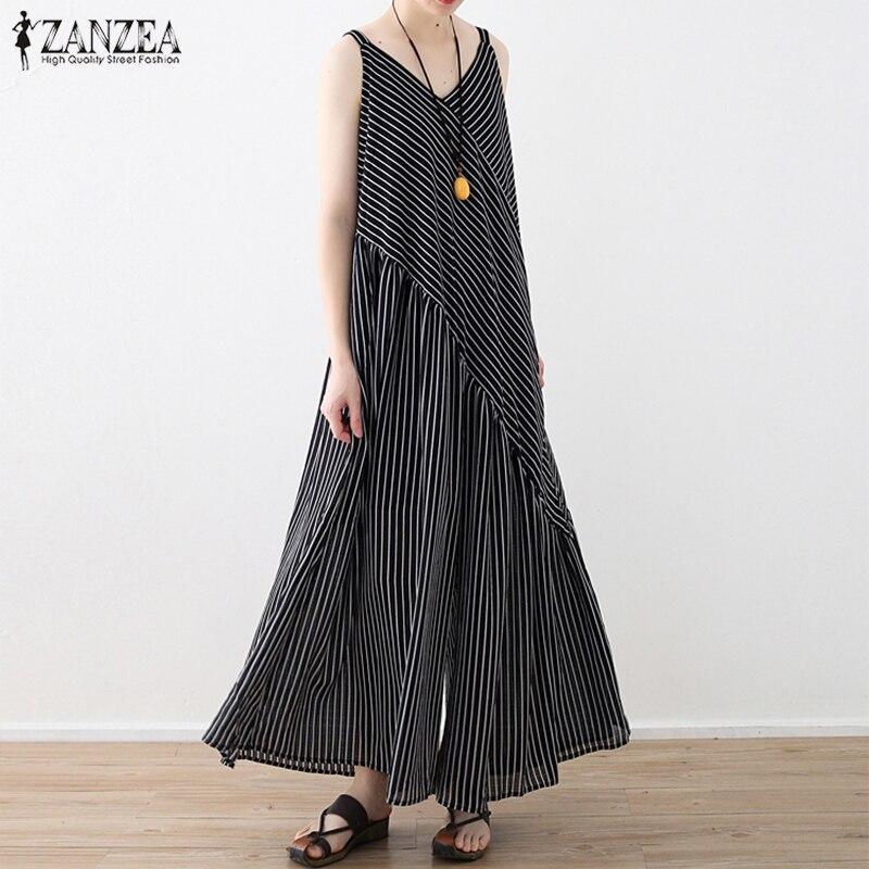 ZANZEA Combinaison Femme Elegant Jumpsuits for Women 2018 Summer Overalls Jumpsuit Striped Wide Leg Pants Sleeveless Playsuit