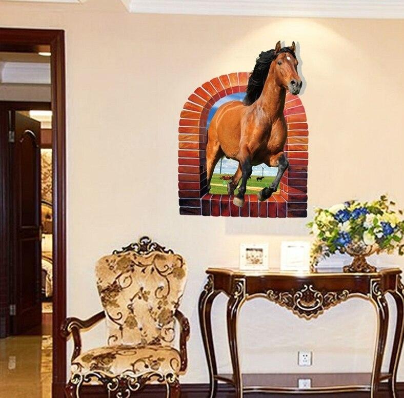 poderoso corriendo caballo pegatinas de pared artificial estufa de ladrillo wallpaper sala de estar casera saln