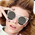 Cat eye ronda cuerno negrita borde delgado mujeres gradient lente reflejada gafas de sol acetato templo marco 97192 gafas de sol