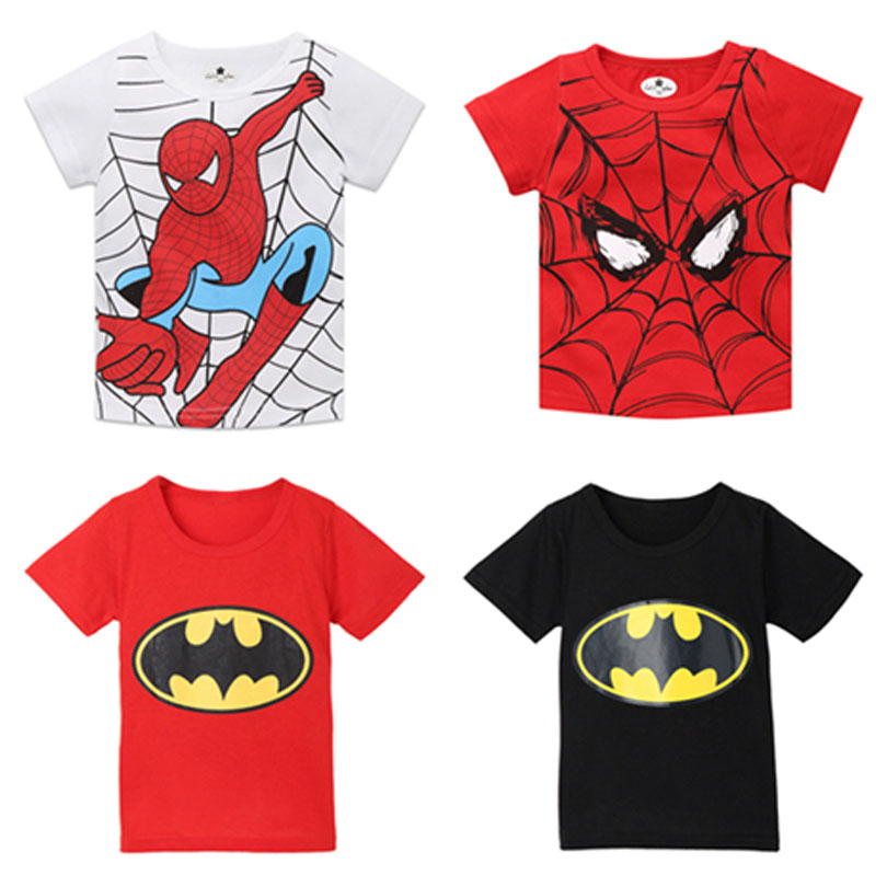 Boys T-Shirt Clothing Spiderman Batman Girls Super-Hero Children Short-Sleeves Cotton